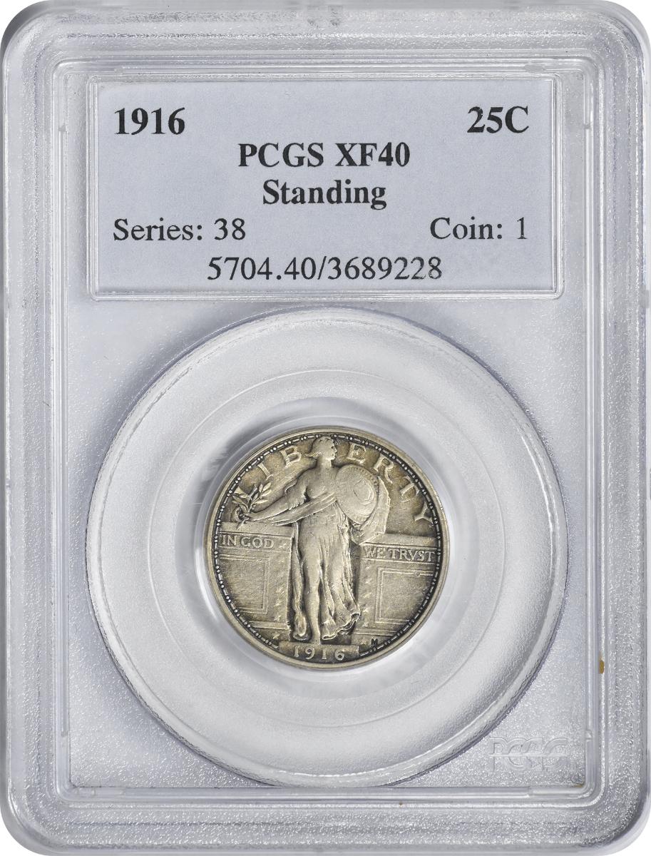 1916-P Standing Liberty Silver Quarter, EF40, PCGS