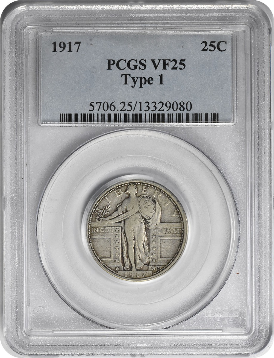 1917 Standing Liberty Silver Quarter Type 1 VF25 PCGS