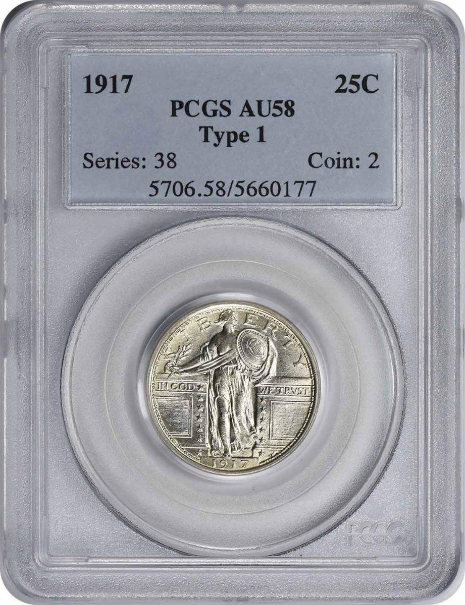 1917-P Standing Liberty Quarter Type I AU58 PCGS