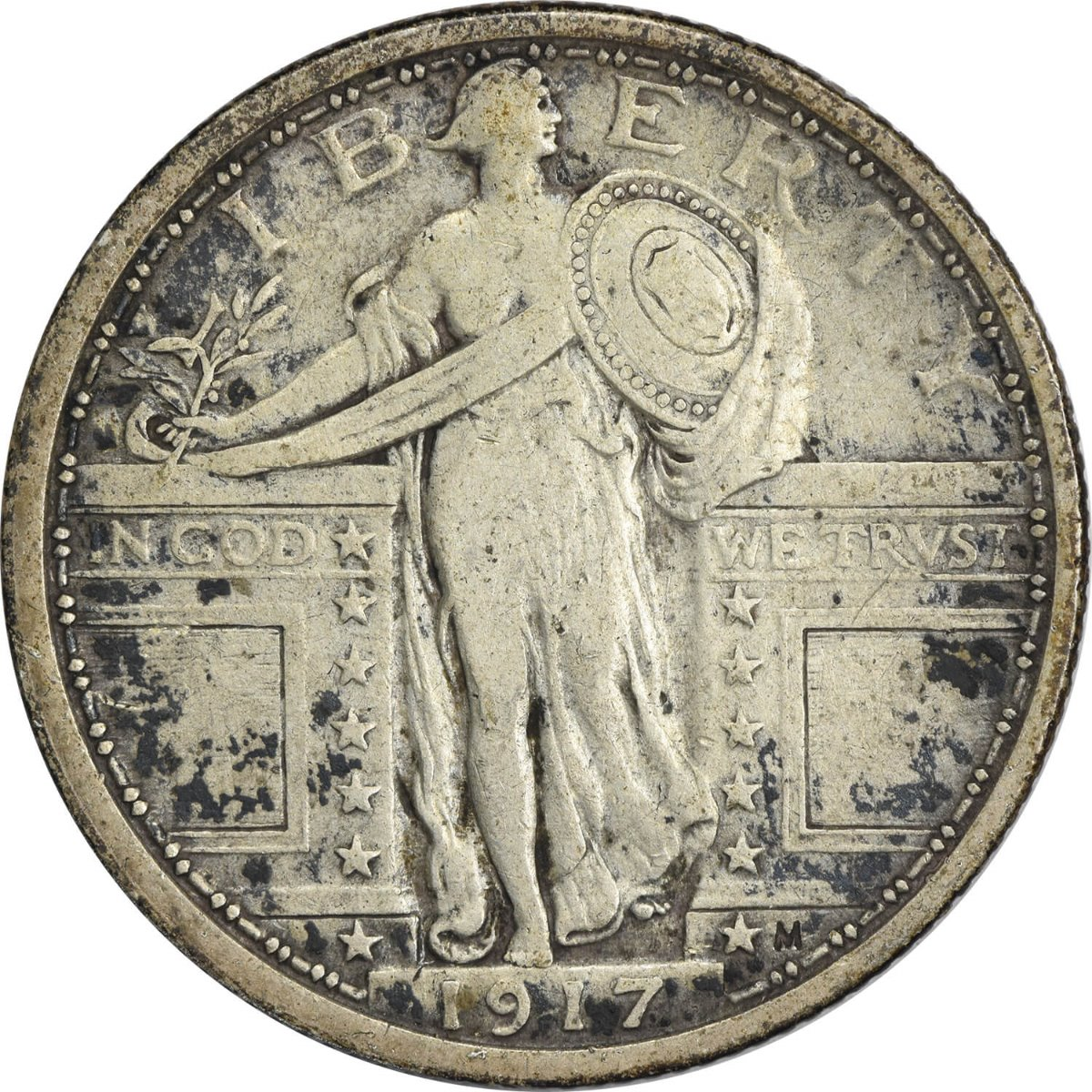 1917 Standing Liberty Silver Quarter Type 1 F Uncertified