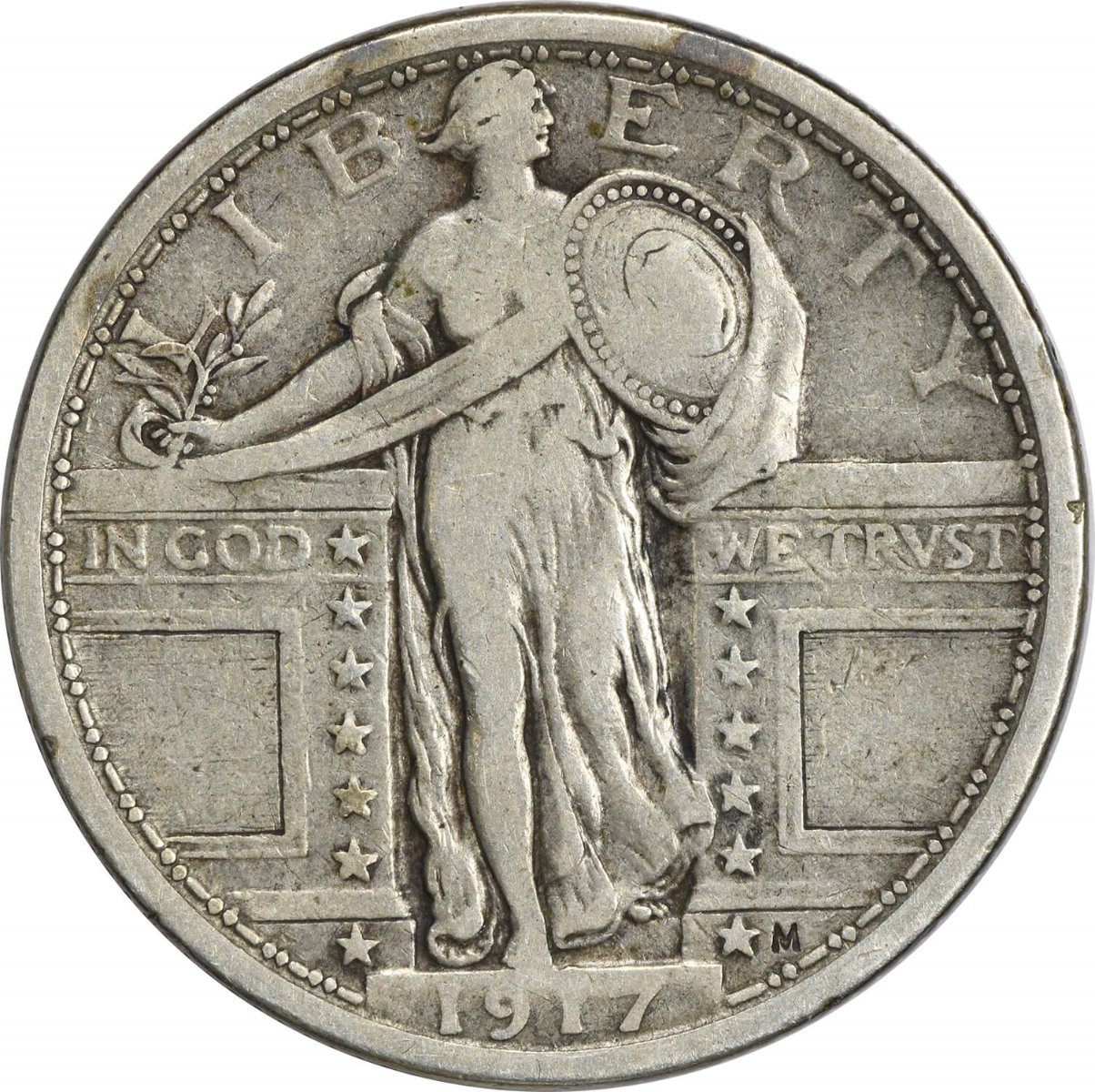 1917 Standing Liberty Silver Quarter Type 1 VF Uncertified
