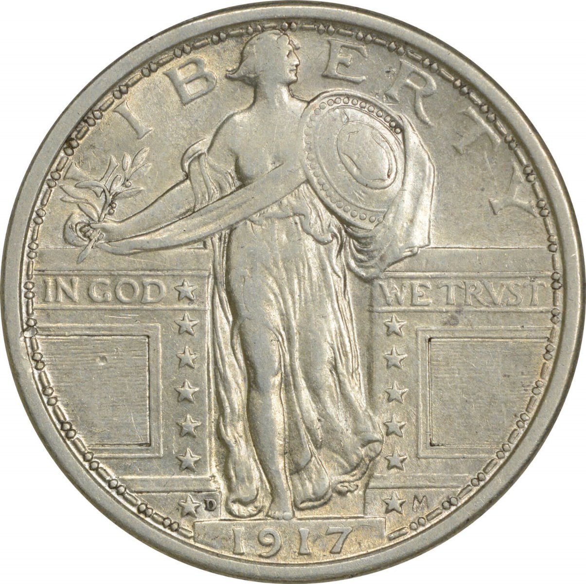 1917-D Standing Liberty Silver Quarter Type 1 AU Uncertified