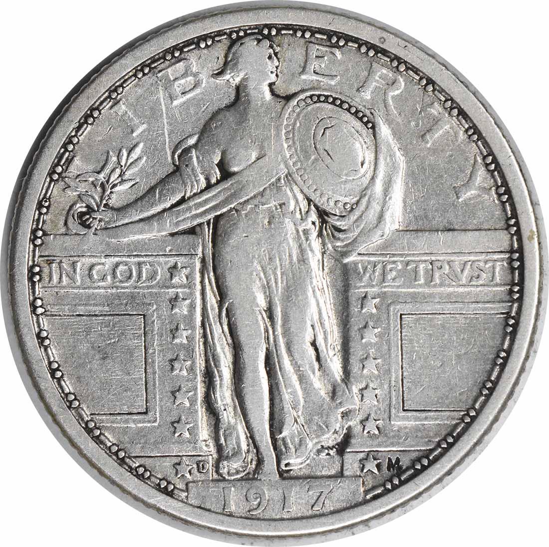 1917-D Standing Liberty Silver Quarter Type 1 EF Uncertified #1147