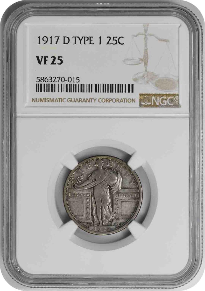1917-D Standing Liberty Silver Quarter Type 1 VF25 NGC