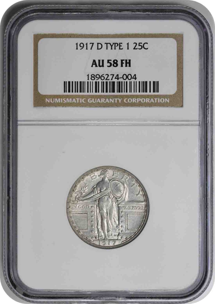 1917-D Standing Liberty Silver Quarter Type 1 AU58FH NGC