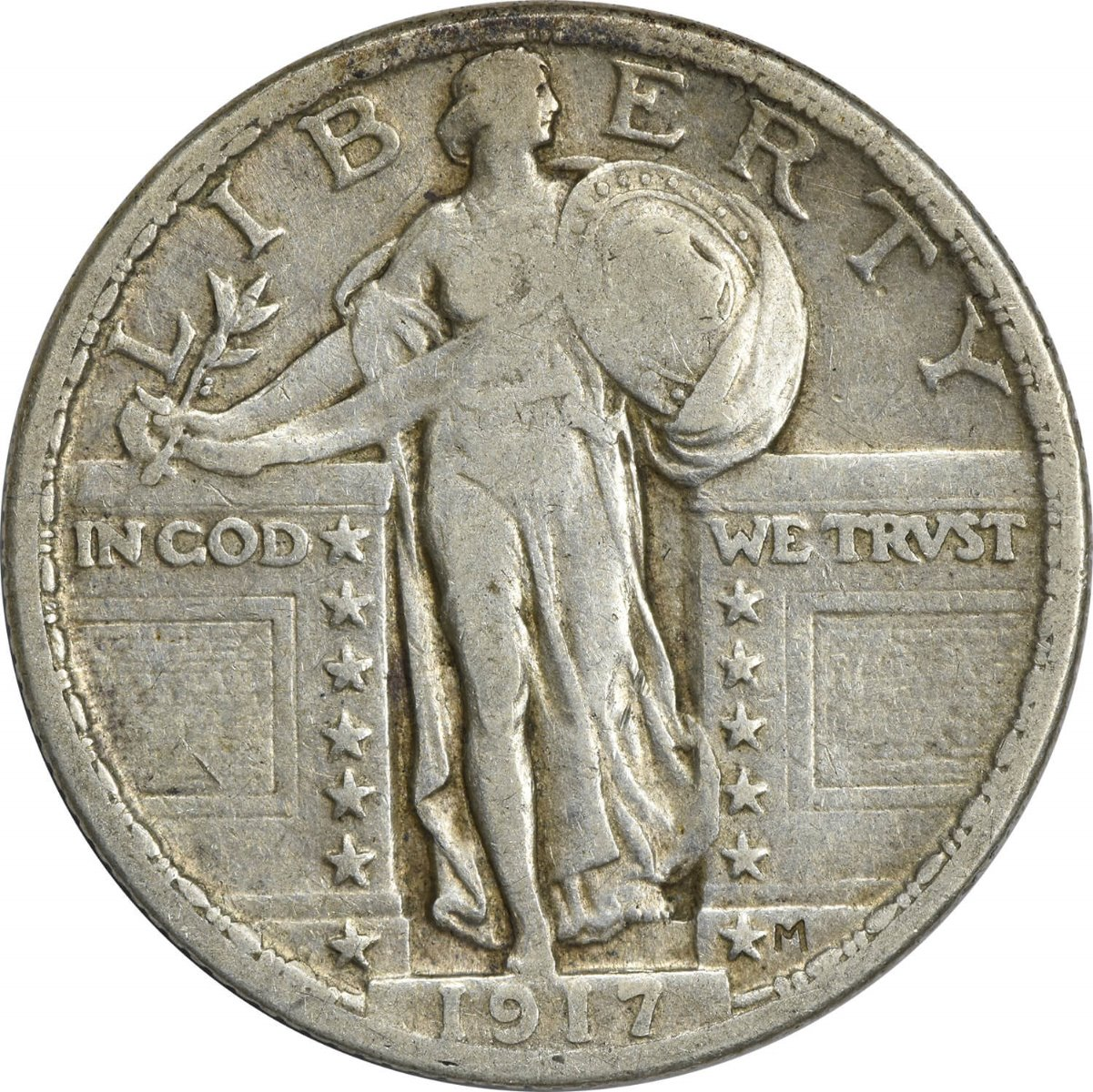 1917-P Standing Liberty Silver Quarter Type 2 VF Uncertified