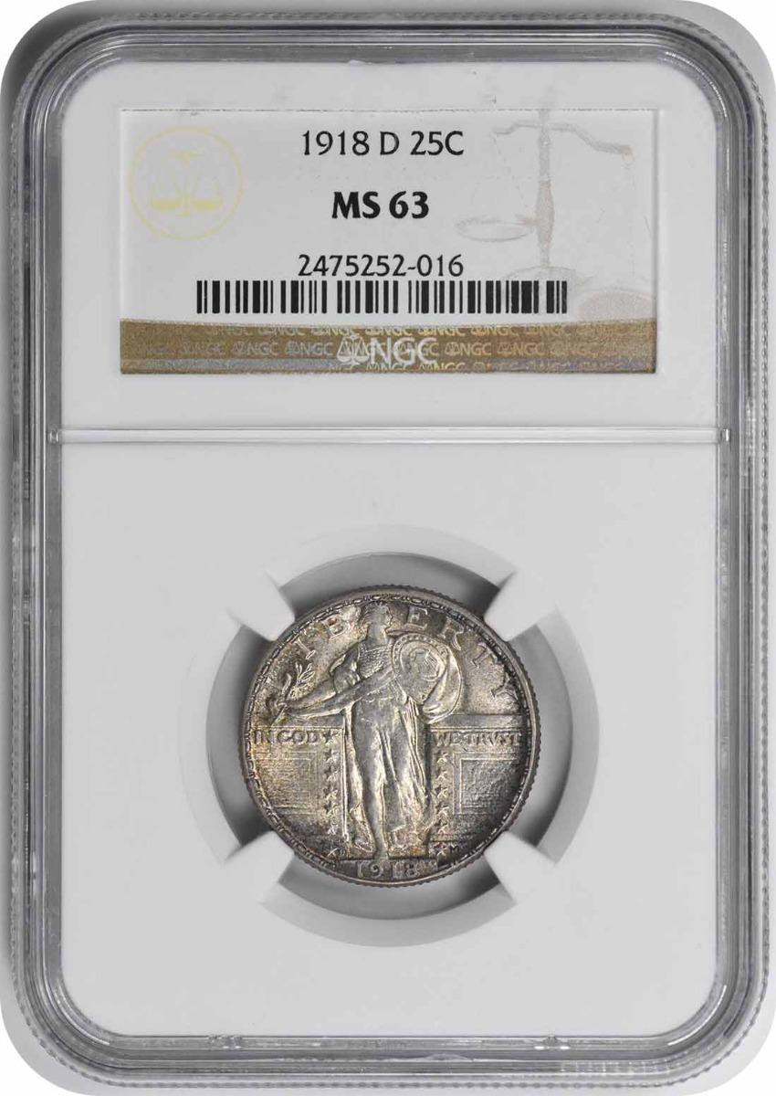 1918-D Standing Liberty Silver Quarter MS63 NGC