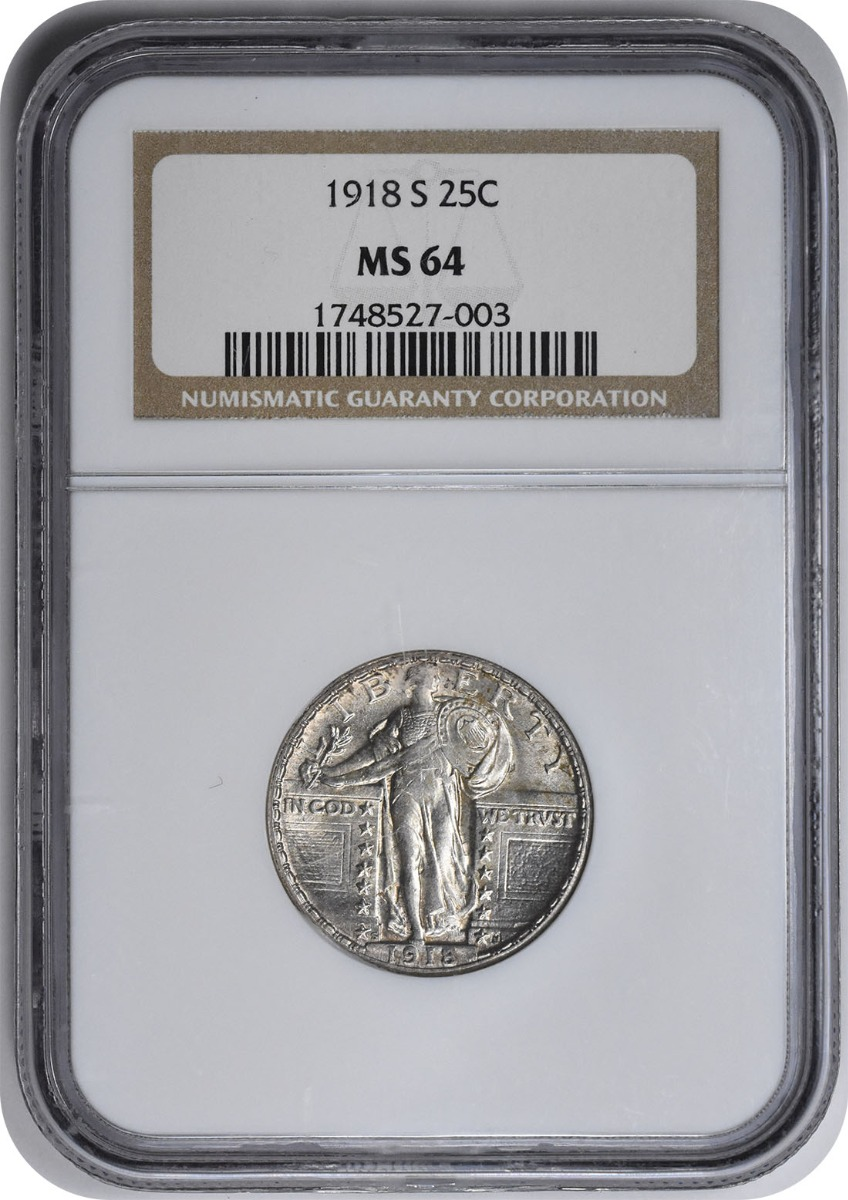 1918-S Standing Liberty Silver Quarter MS64 NGC
