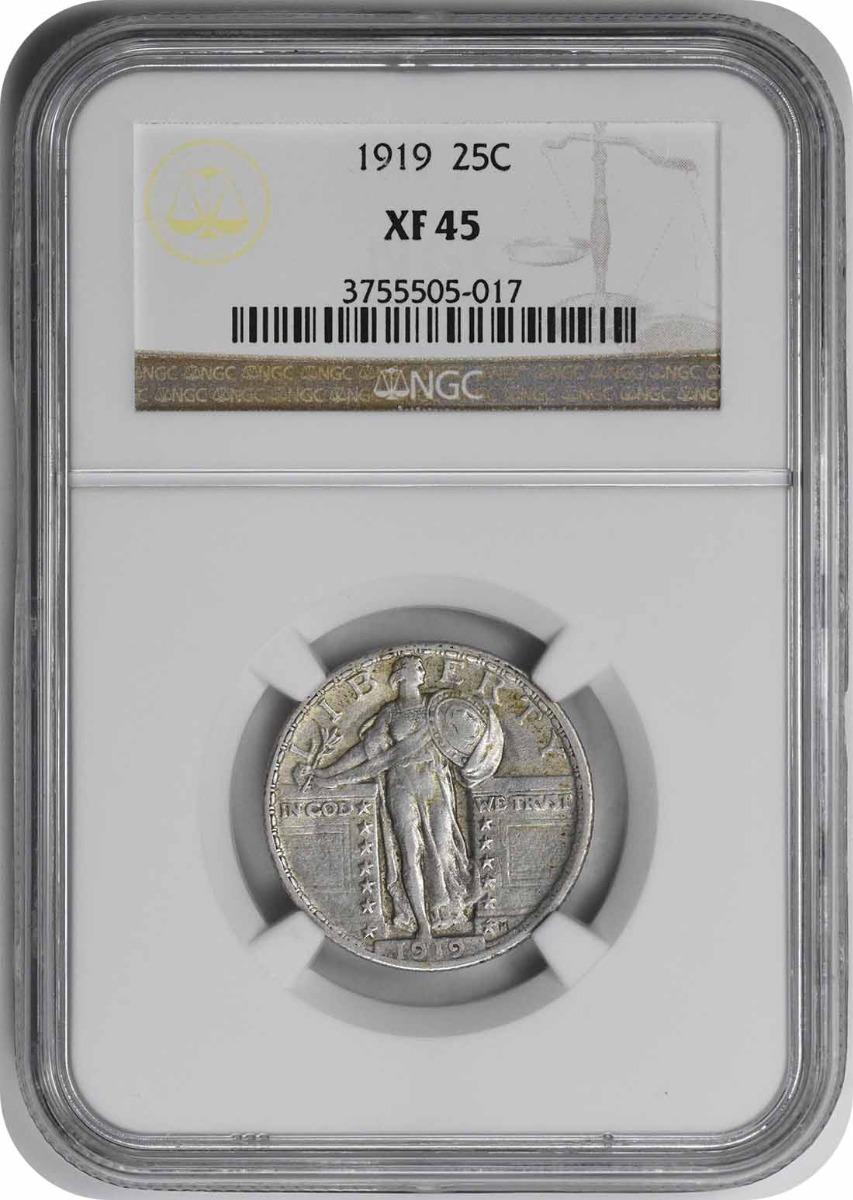 1919 Standing Liberty Silver Quarter EF45 NGC