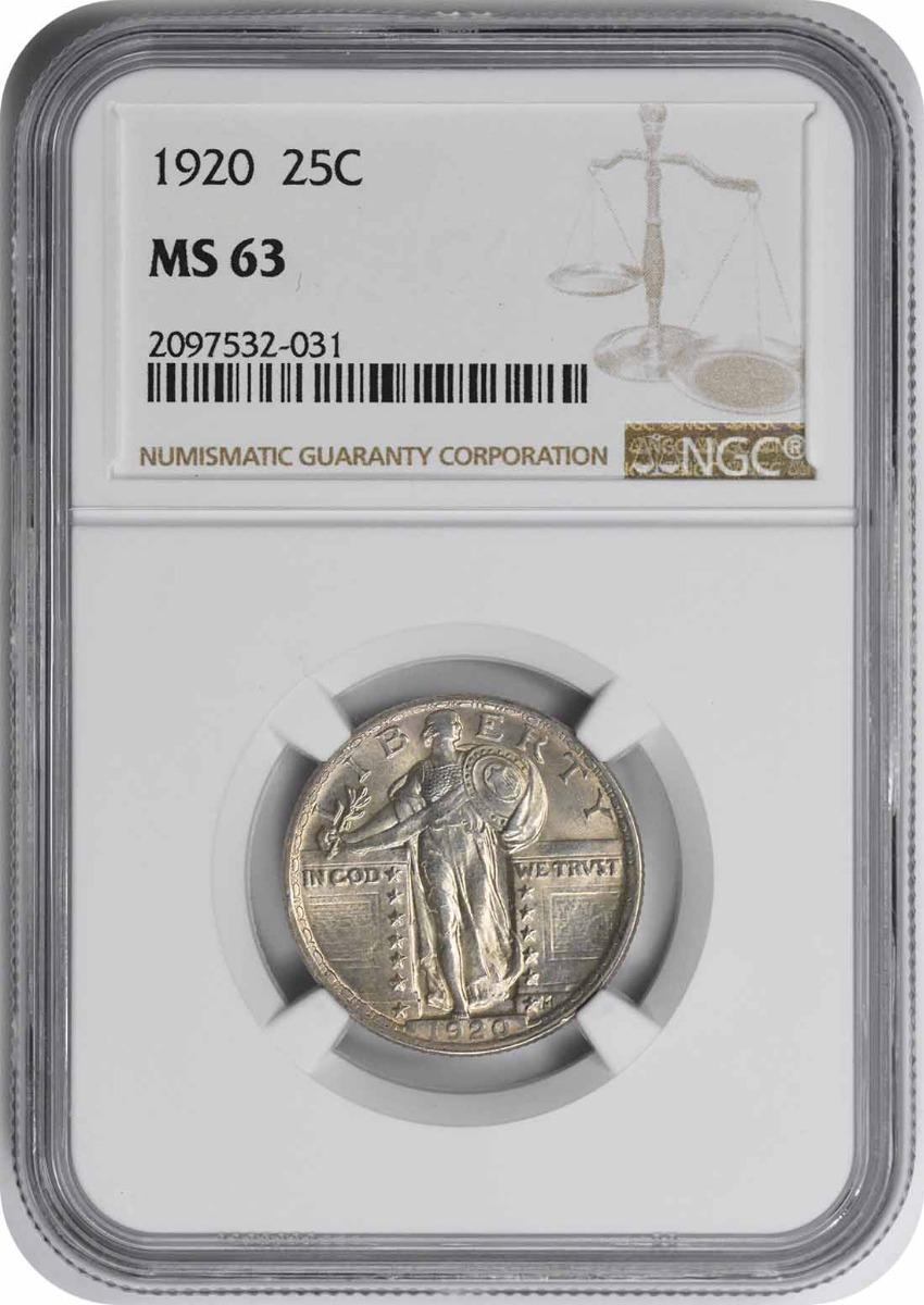 1920 Standing Liberty Silver Quarter MS63 NGC