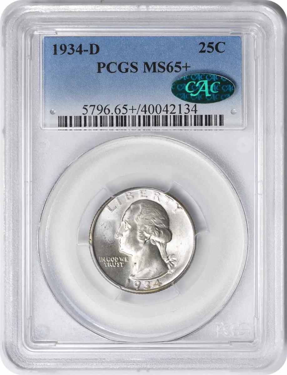 1934-D Washington Silver Quarter MS65+ PCGS (CAC)