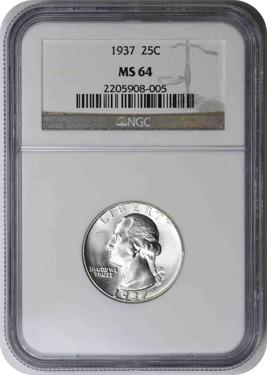 1937 Washington Silver Quarter MS64 NGC