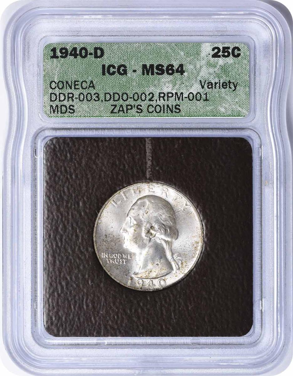 1940-D Washington Quarter RPM 1 MS64 ICG