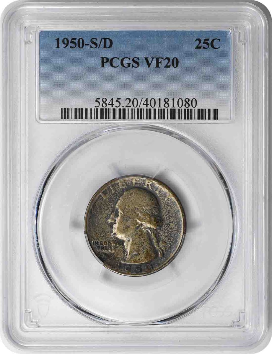 1950-S/D Washington Silver Quarter VF20 PCGS