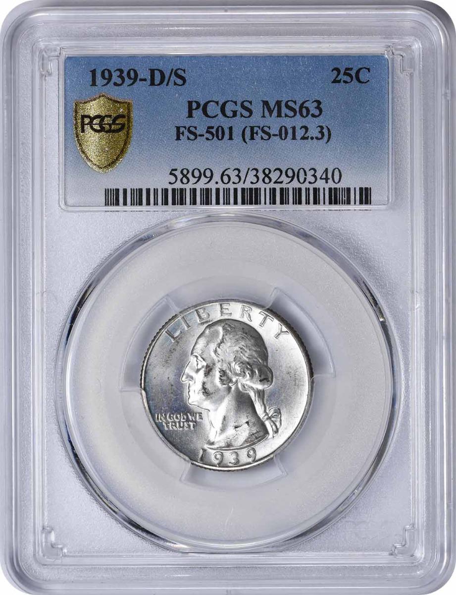 1939-D/S Washington Quarter FS-501 MS63 PCGS