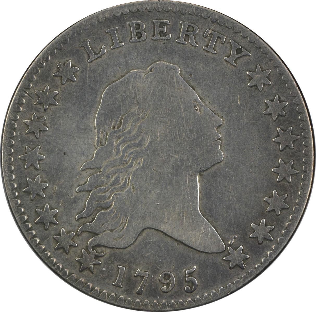 1795 Bust Half Dollar, 2 Leaves, F, Uncertified