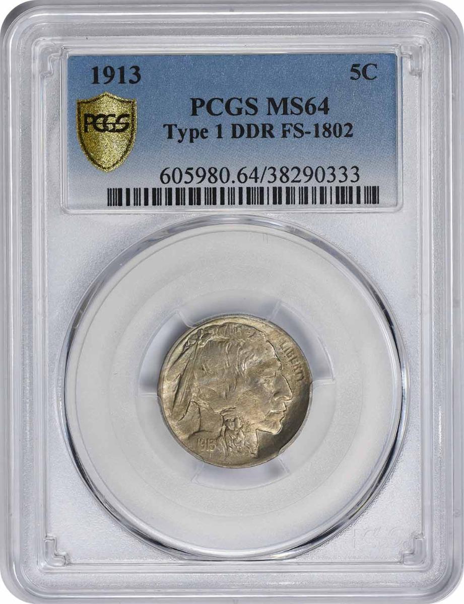 1913 Buffalo Nickel Type 1 DDR FS-1802 MS64 PCGS