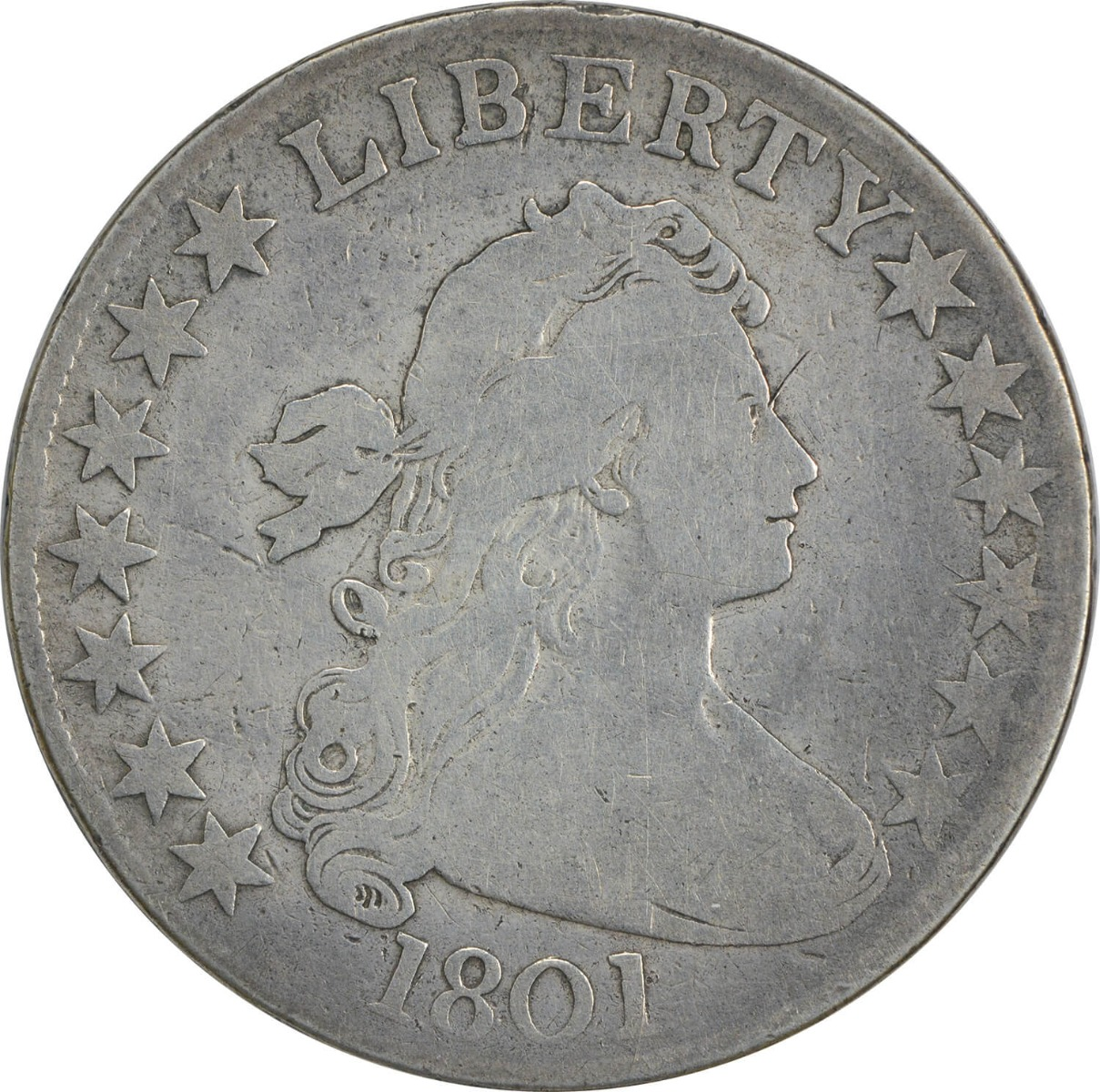 1801 Bust Half Dollar, F, Uncertified