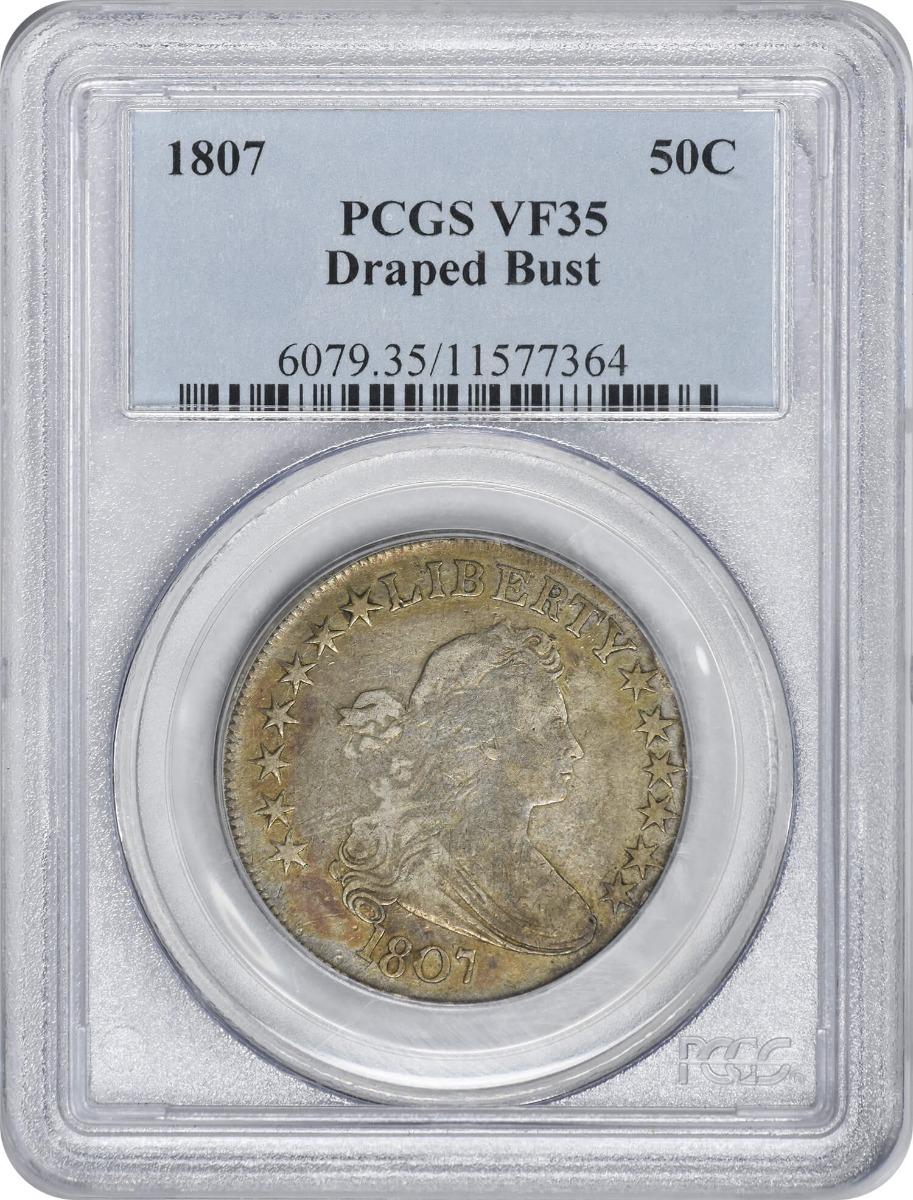 1807 Bust Silver Half Dollar, Draped, VF35, PCGS