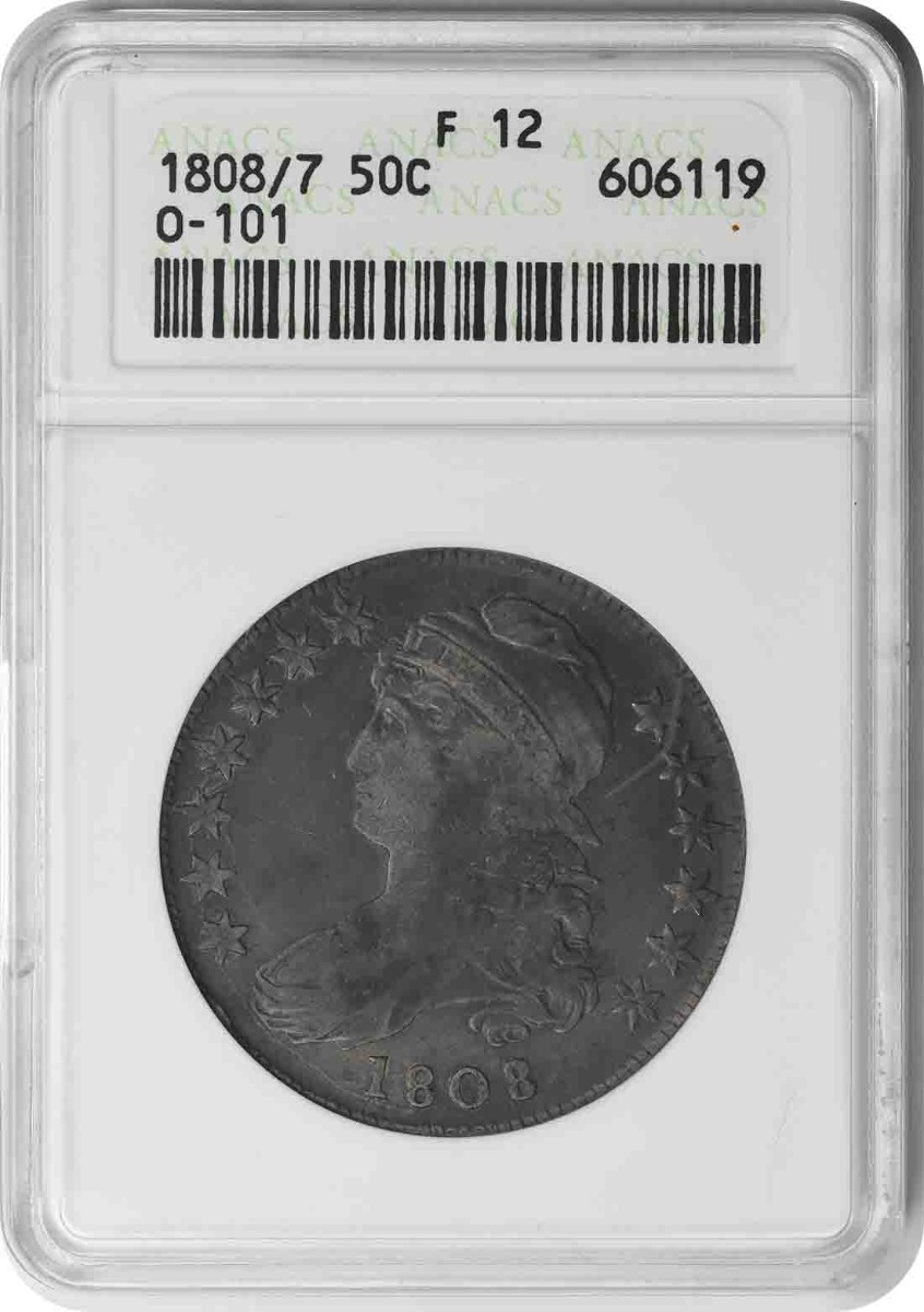 1808/7 Bust Silver Half Dollar F12 ANACS