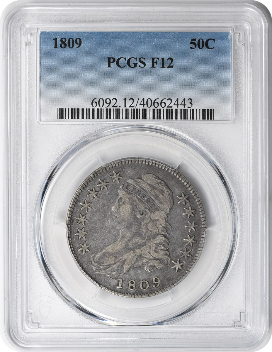 1809 Bust Silver Half Dollar F12 PCGS