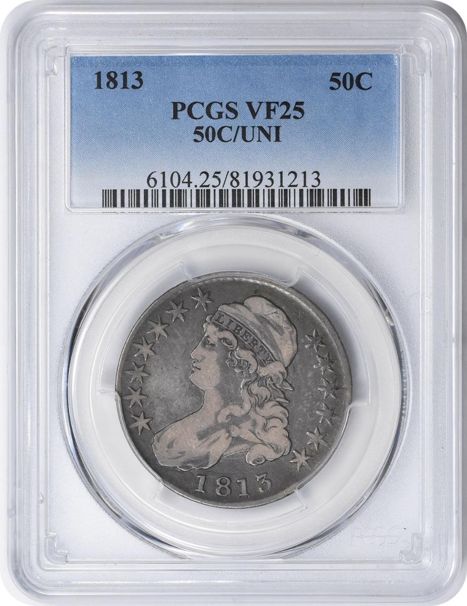 1813 Bust Silver Half Dollar 50C/UNI VF25 PCGS