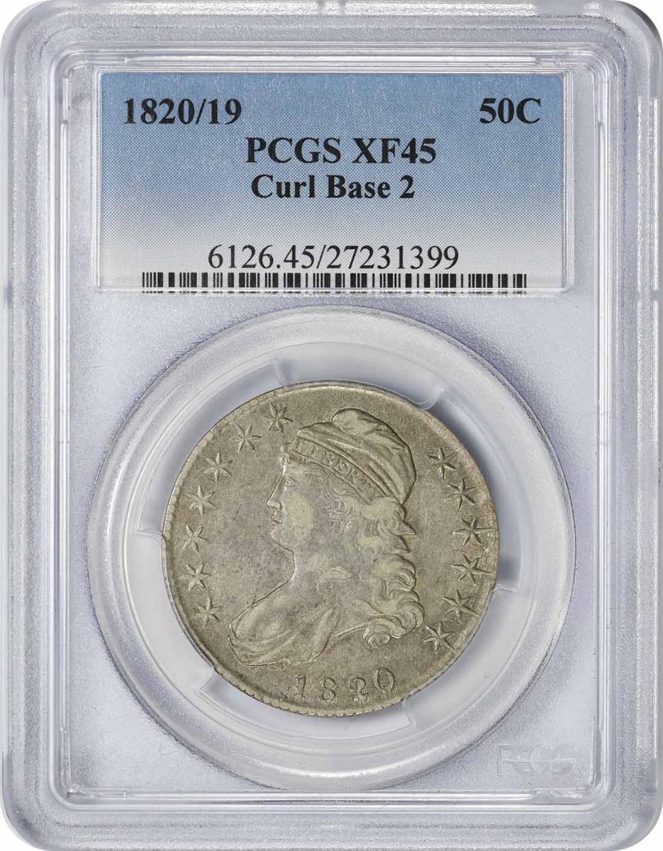 1820/19 Bust Silver Half Dollar Curl Base 2 EF45 PCGS