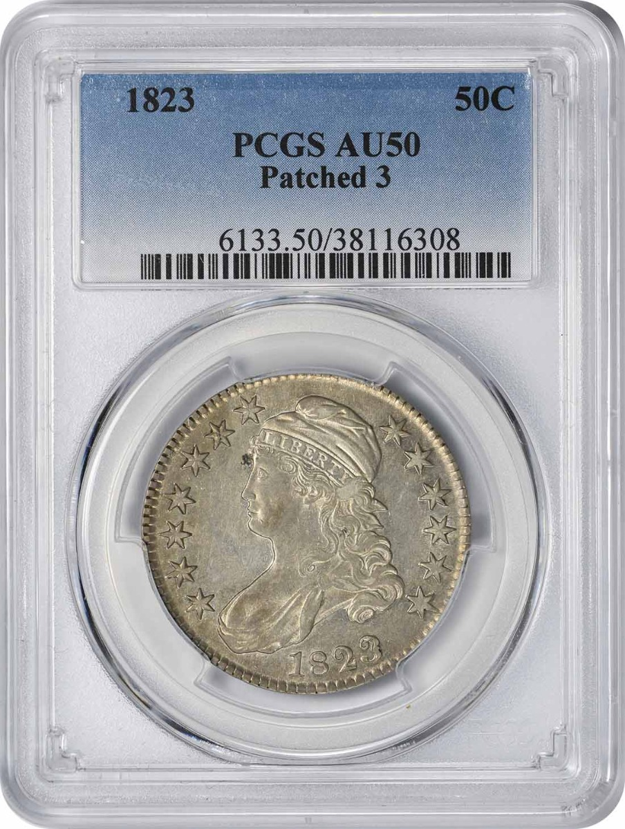 1823 Bust Silver Half Dollar Patched 3 AU50 PCGS