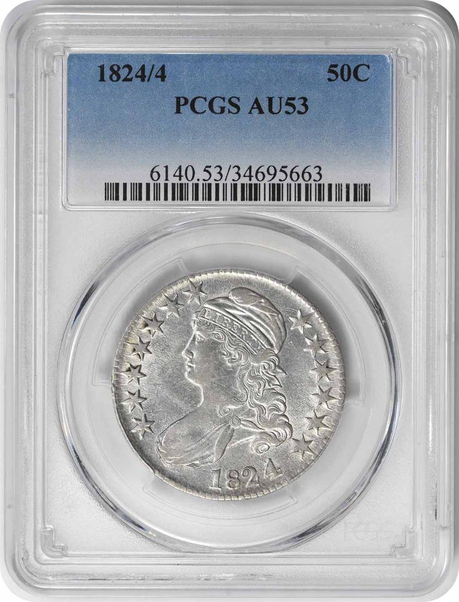 1824/4 Bust Silver Half Dollar AU53 PCGS
