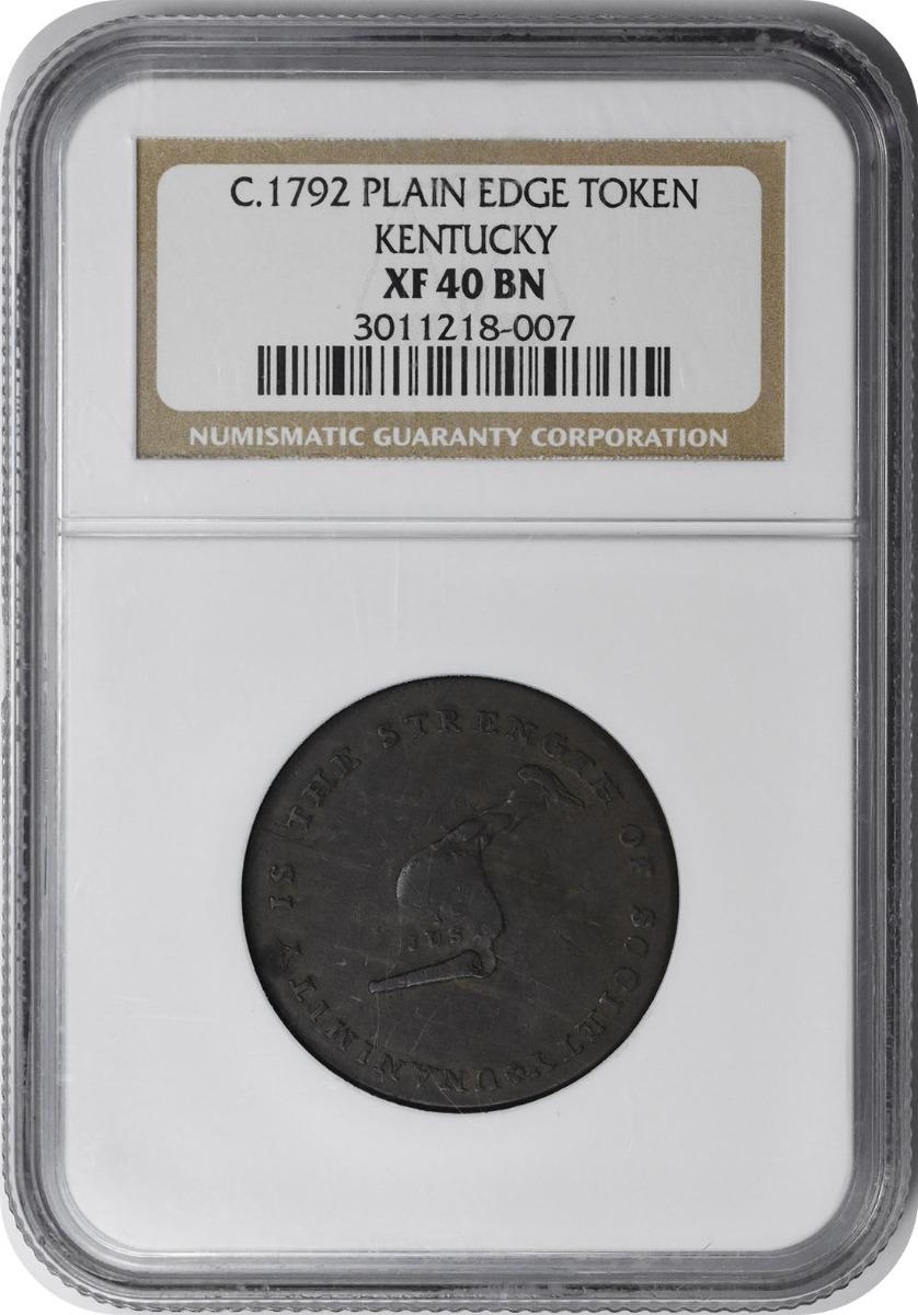 1792 Kentucky Cent Plain Edge EF40BN NGC
