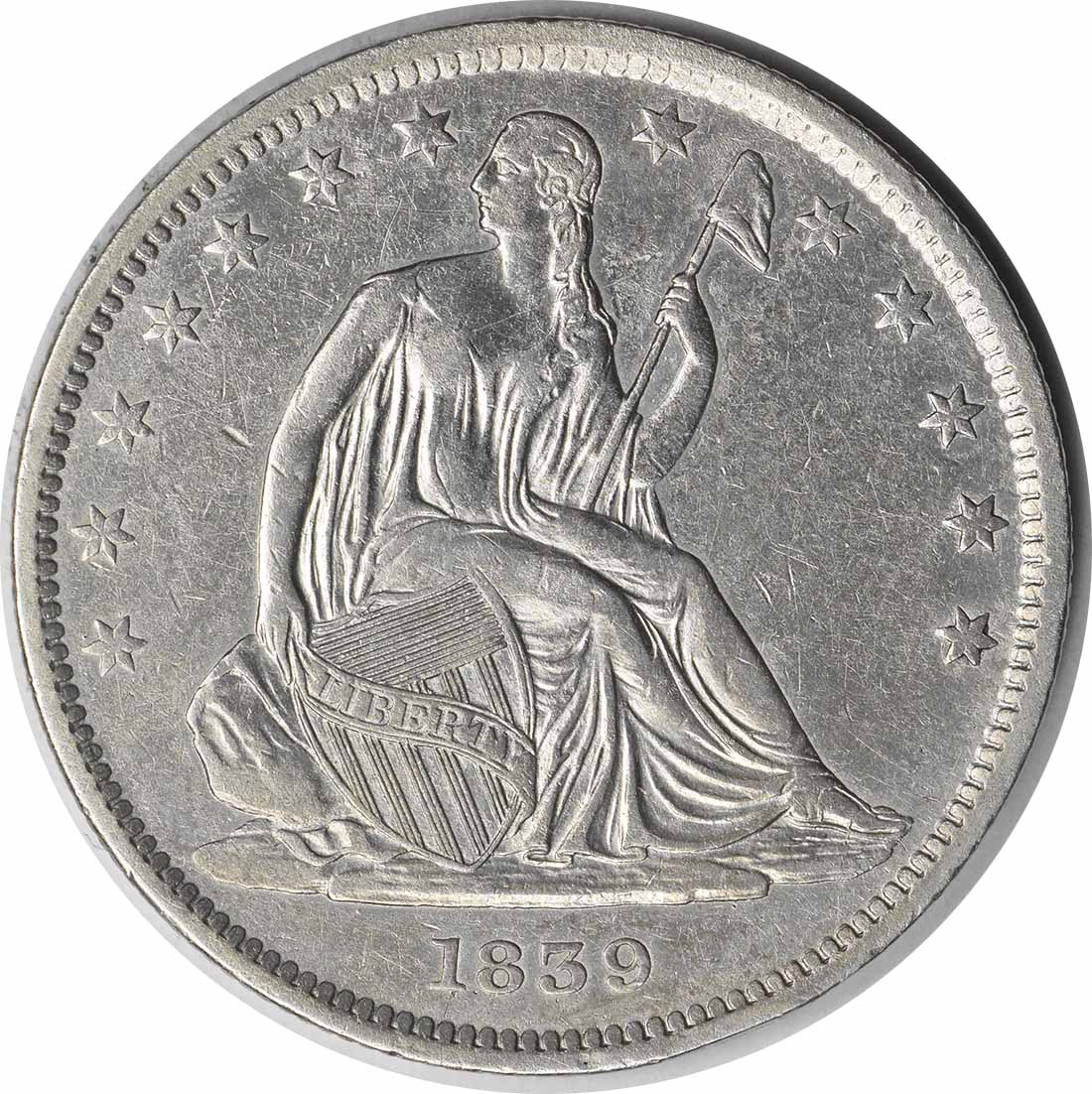 1839 Liberty Seated Silver Half Dollar Drapery AU Uncertified