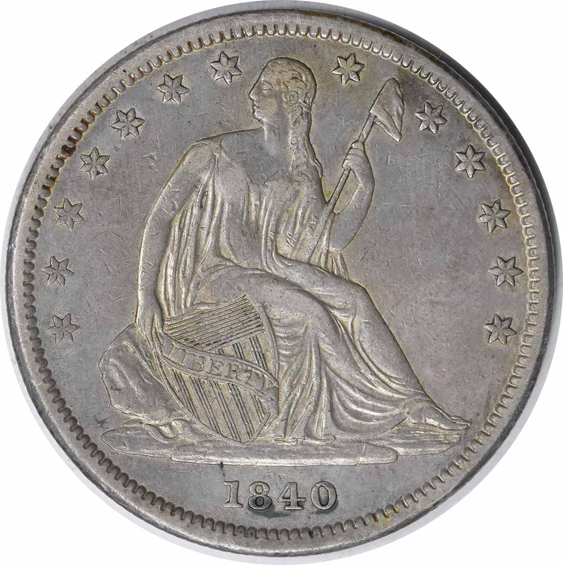 1840 Liberty Seated Silver Half Dollar Small Letters EF Uncertified