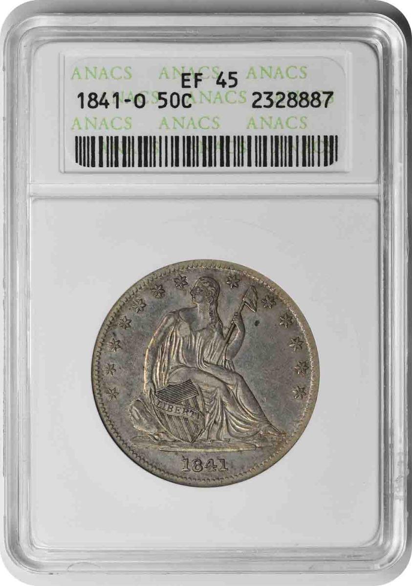 1841-O Liberty Seated Silver Half Dollar EF45 ANACS
