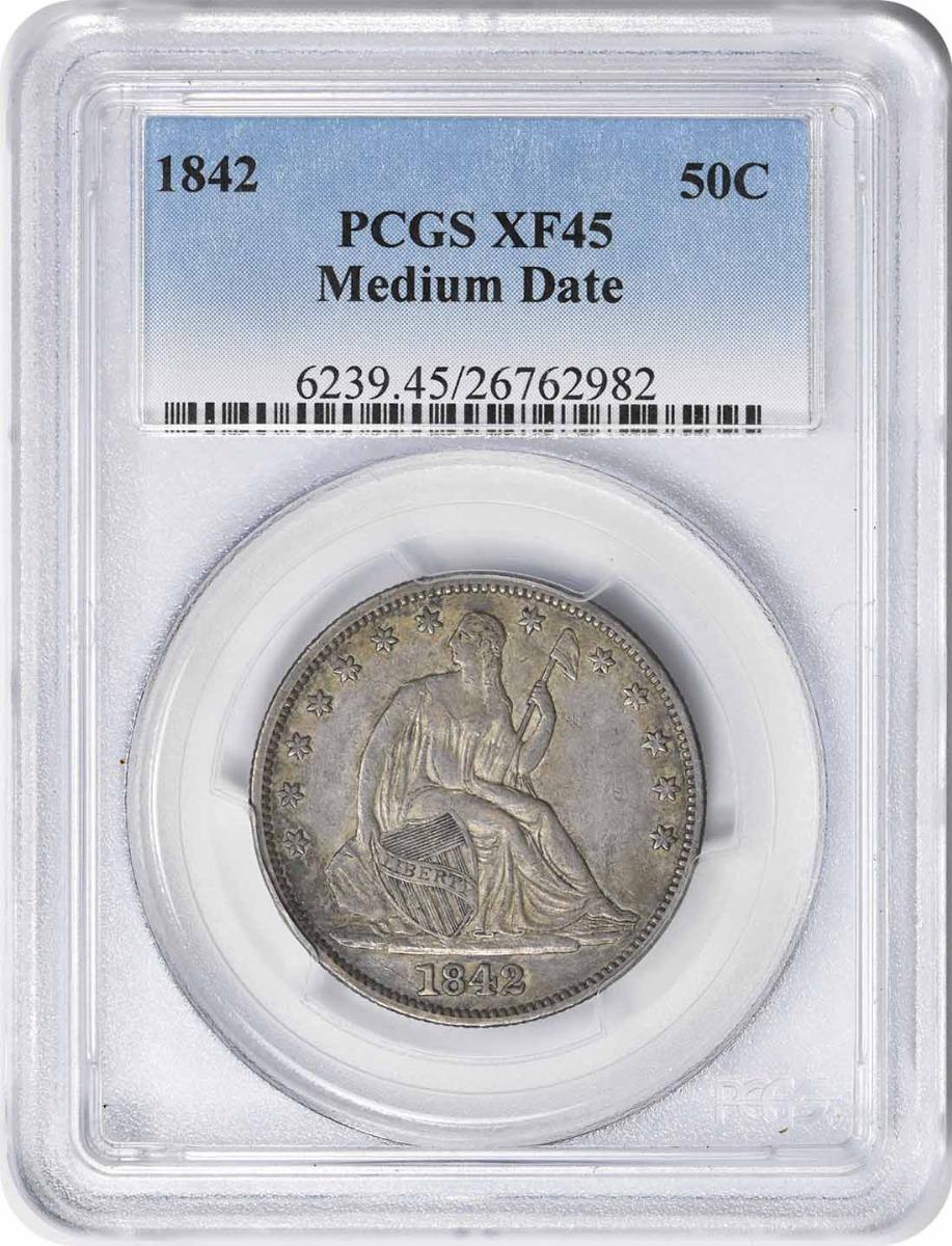 1842 Liberty Seated Silver Half Dollar Medium Date EF45 PCGS