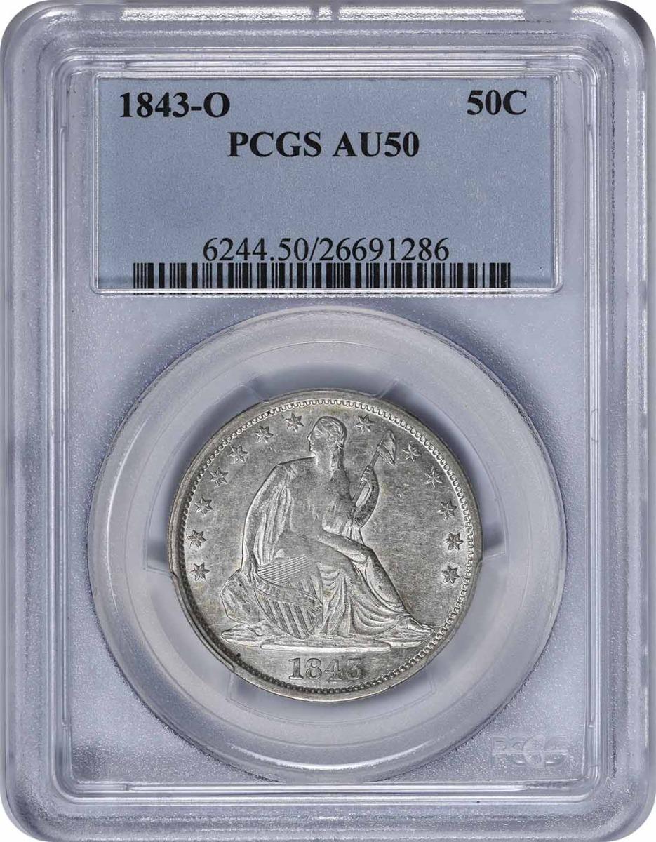1843-O Liberty Seated Half Dollar, AU50, PCGS