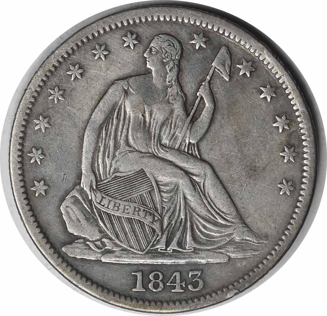 1843-O Liberty Seated Silver Half Dollar EF Uncertified
