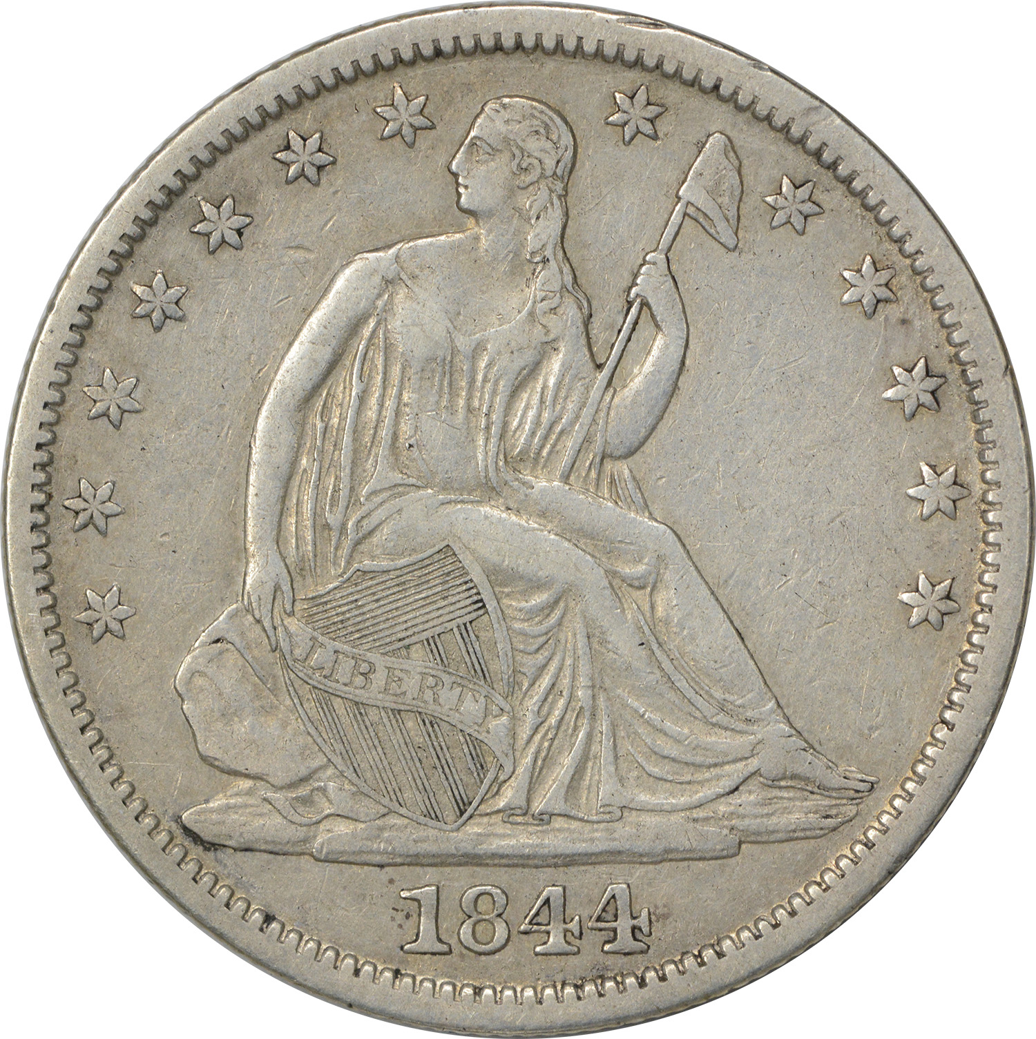 1844-O Liberty Seated Half Dollar, Choice EF, Uncertified