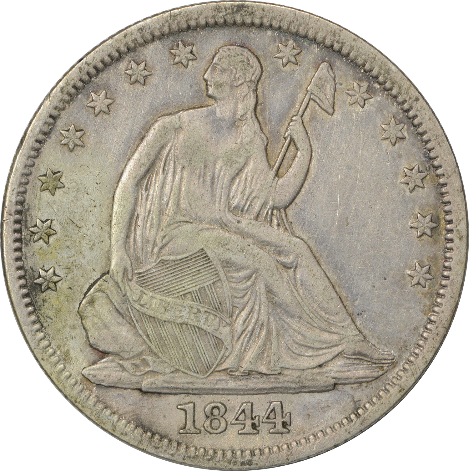 1844-O Liberty Seated Half Dollar, EF, Uncertified