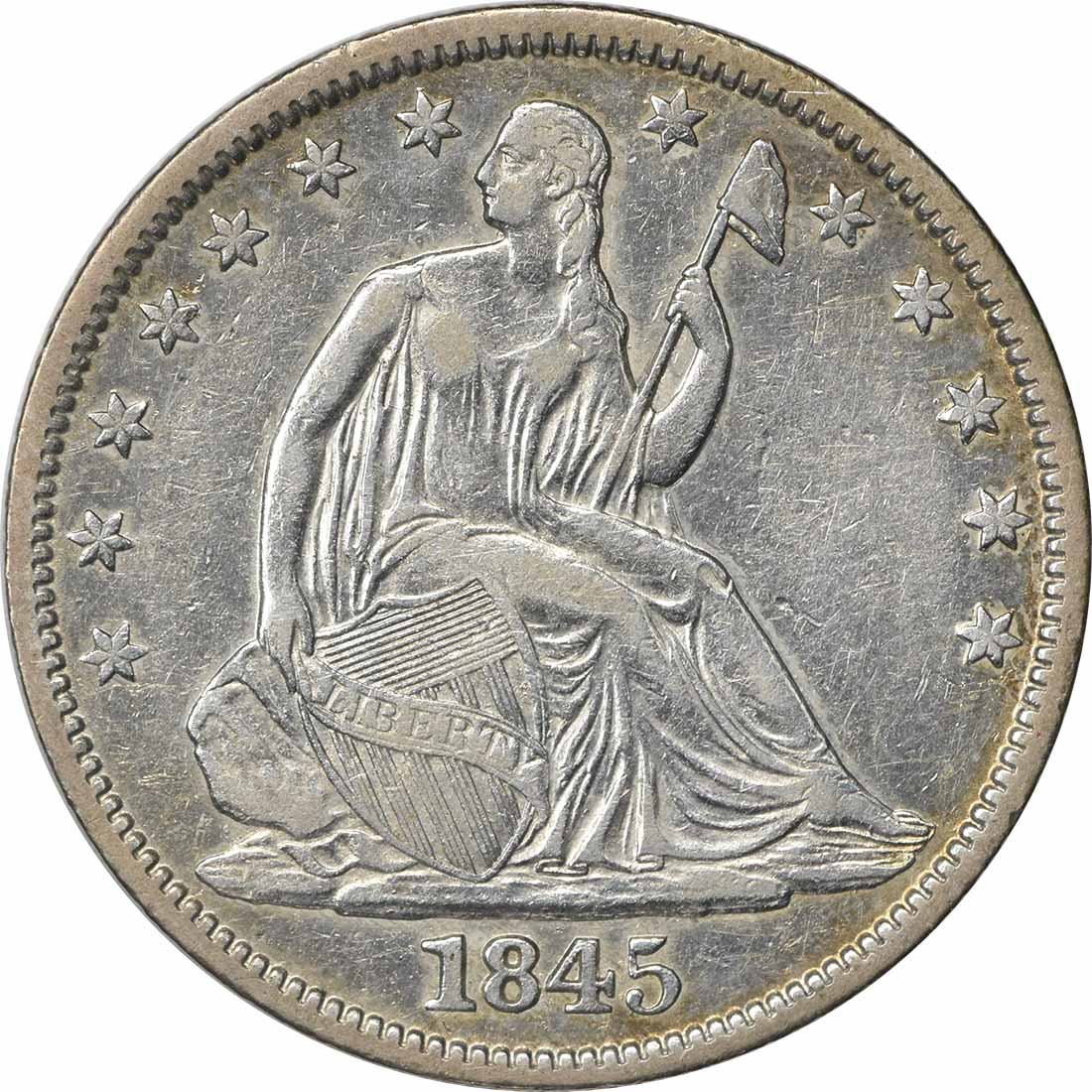 1845 Liberty Seated Silver Half Dollar EF Uncertified