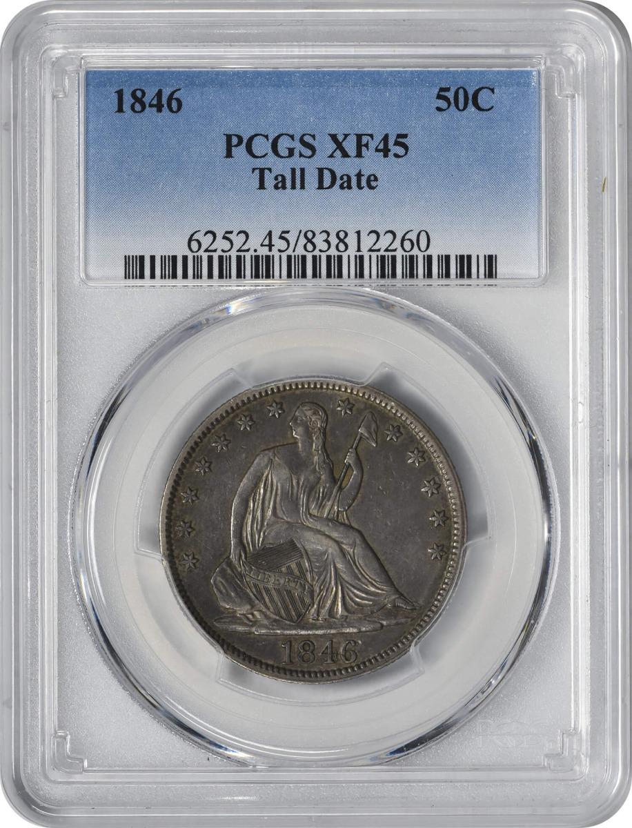 1846 Liberty Seated Half Dollar Tall Date EF45 PCGS