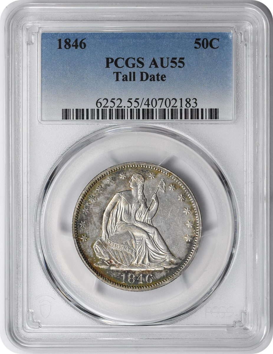 1846 Liberty Seated Silver Half Dollar Tall Date AU55 PCGS