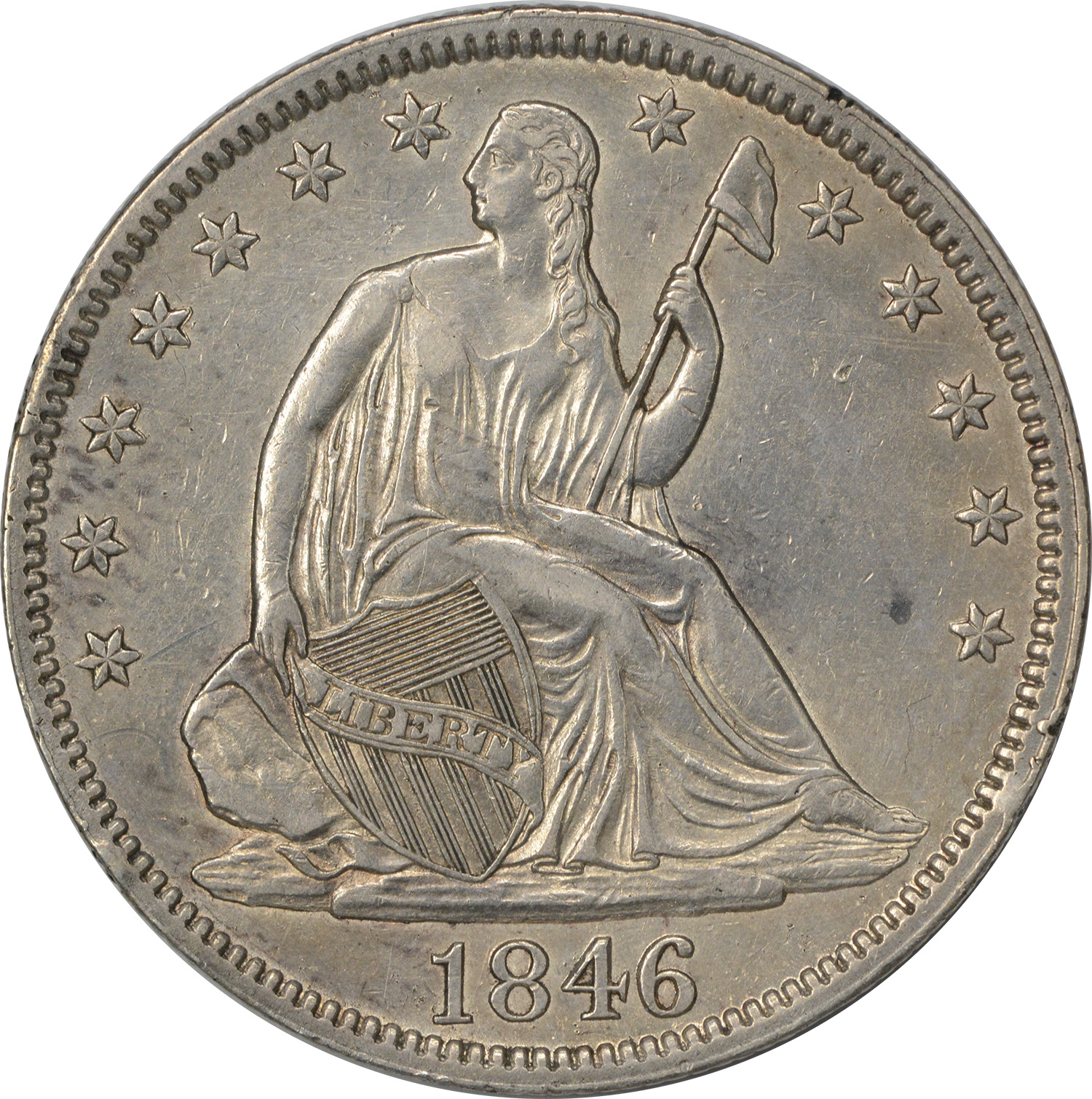 1846 Liberty Seated Half Dollar Tall Date AU Uncertified