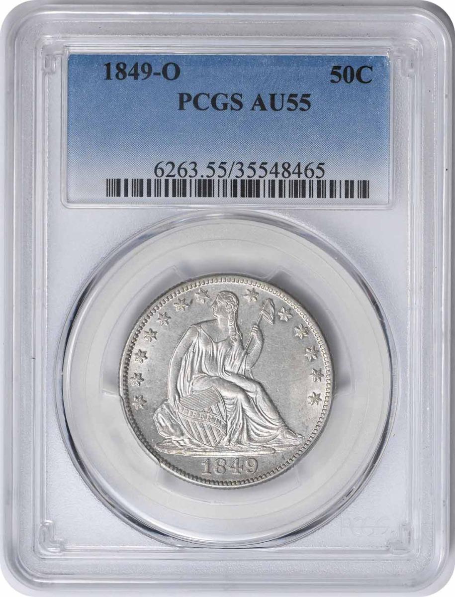 1849-O Liberty Seated Silver Half Dollar AU55 PCGS