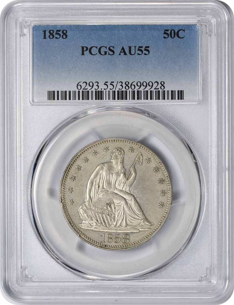 1858 Liberty Seated Silver Half Dollar AU55 PCGS