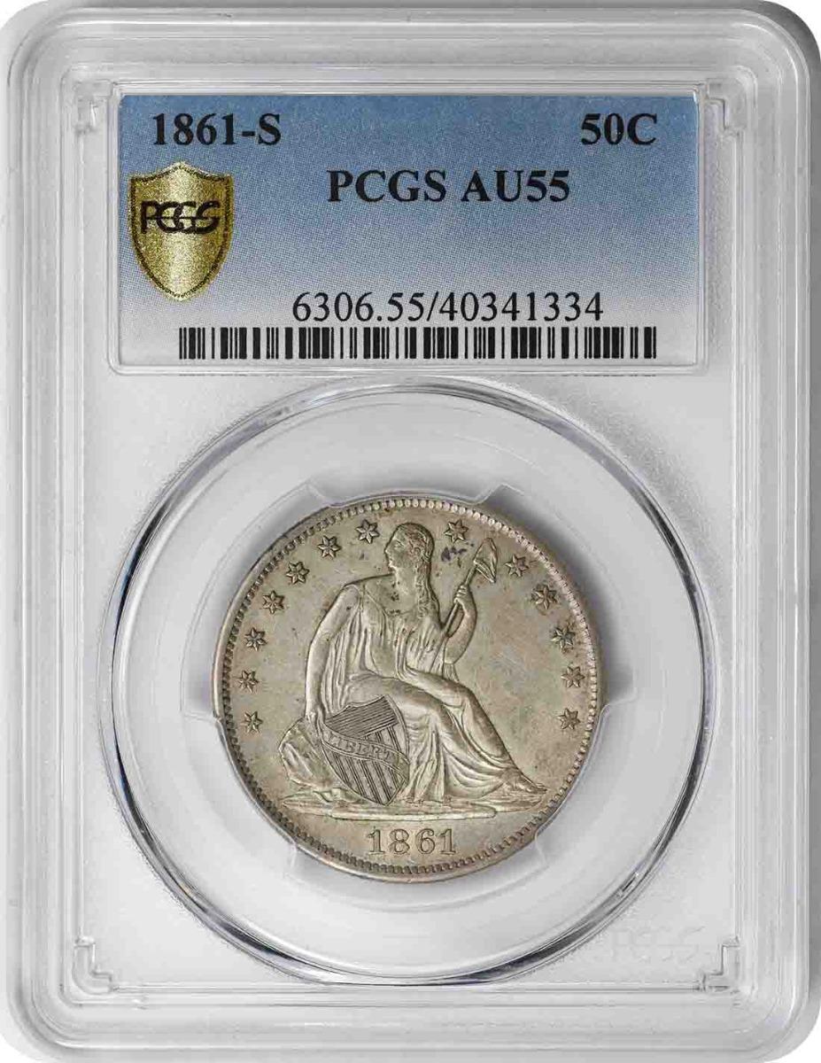 1861-S Liberty Seated Silver Half Dollar AU55 PCGS