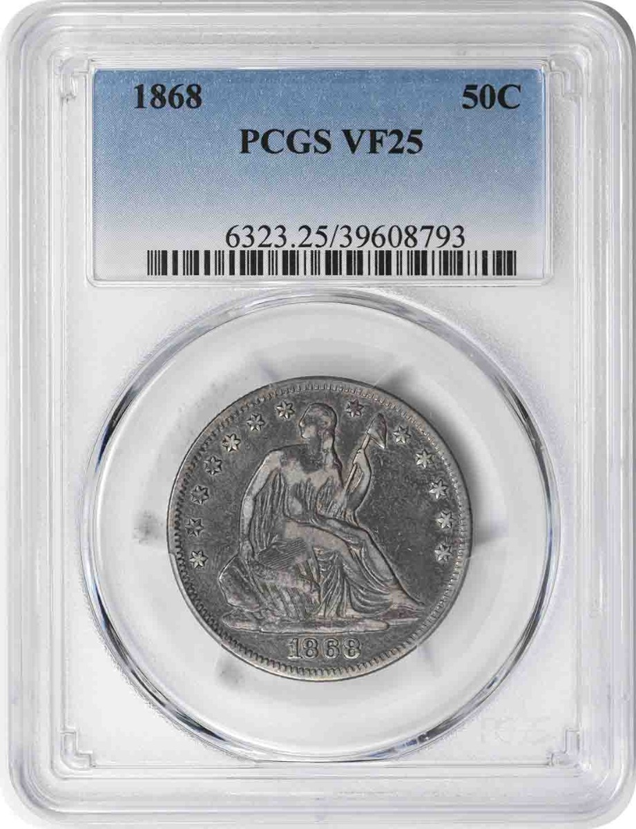 1868 Liberty Seated Silver Half Dollar VF25 PCGS
