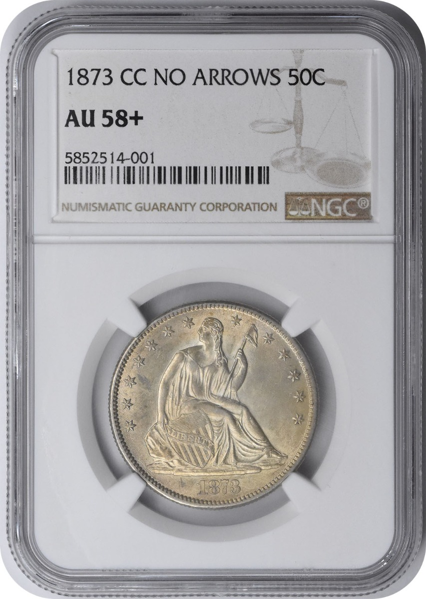 1873-CC Liberty Seated Silver Half Dollar No Arrows AU58+ NGC