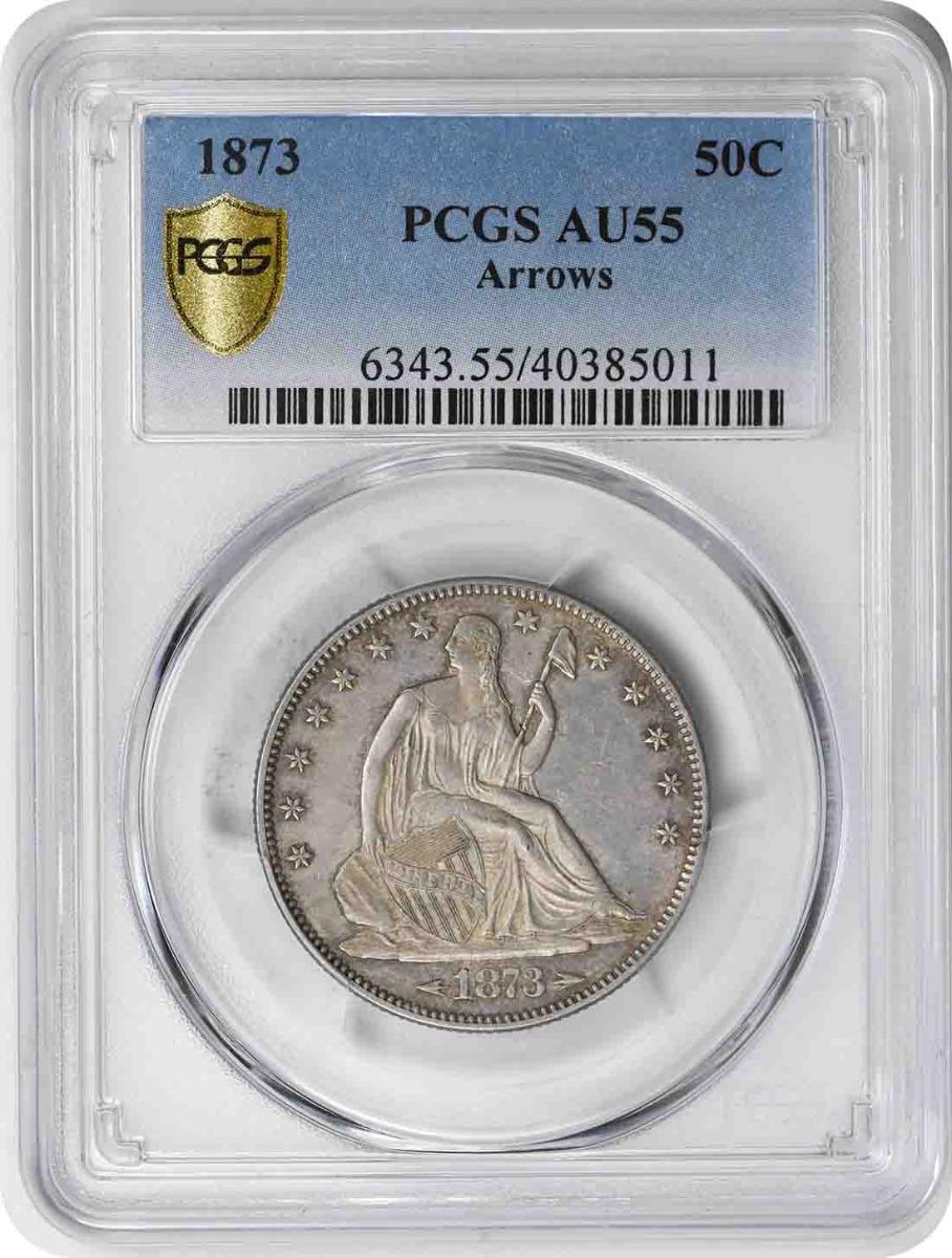 1873 Liberty Seated Silver Half Dollar Arrows AU55 PCGS