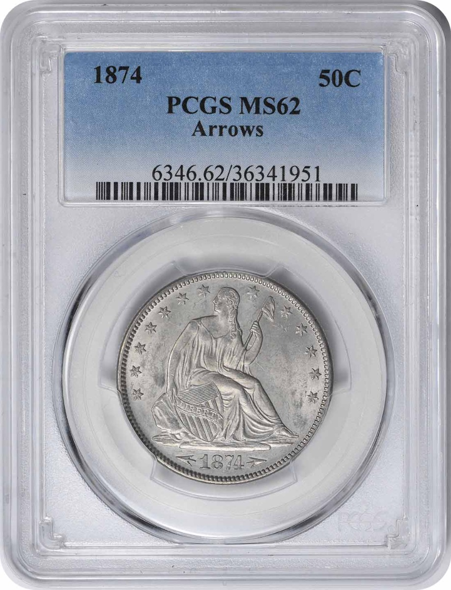 1874 Liberty Seated Silver Quarter  Arrows MS62PCGS