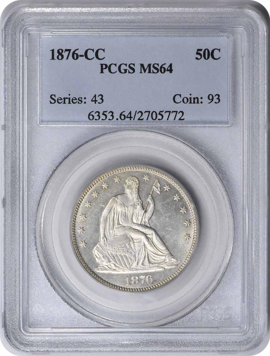 1876-CC Liberty Seated Silver Half Dollar MS64 PCGS